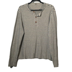 Club Monaco Navy and White Striped Cotton Long Sleeve Henley Size Large